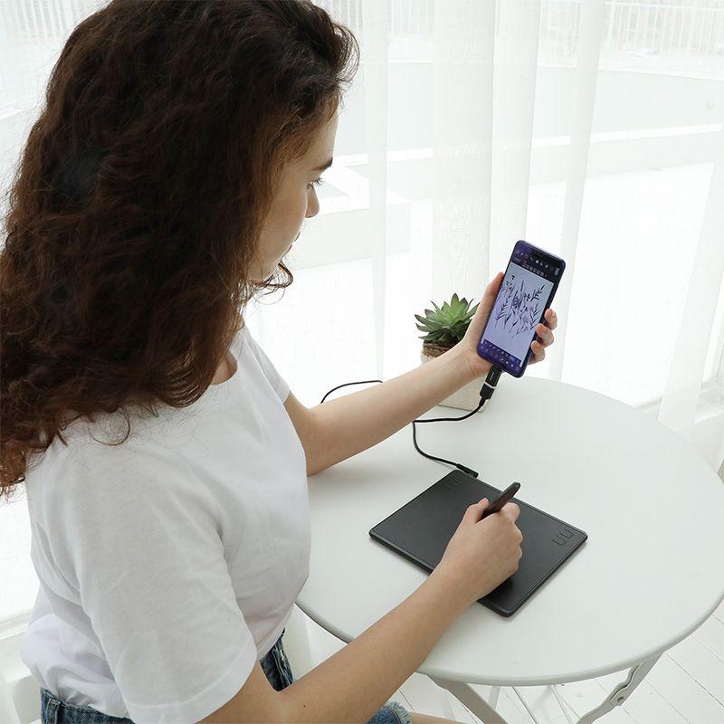 HUION HS64 graphique dessin tablettes numériques OTG fonction Signature stylo tablette avec stylet sans batterie pour Android Windows macOS