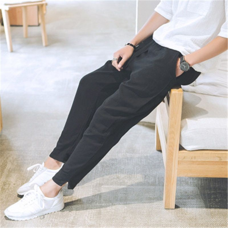 2018 summer men's Chinese style linen casual trousers cotton and linen loose large size pants pants harem pants  WSX04