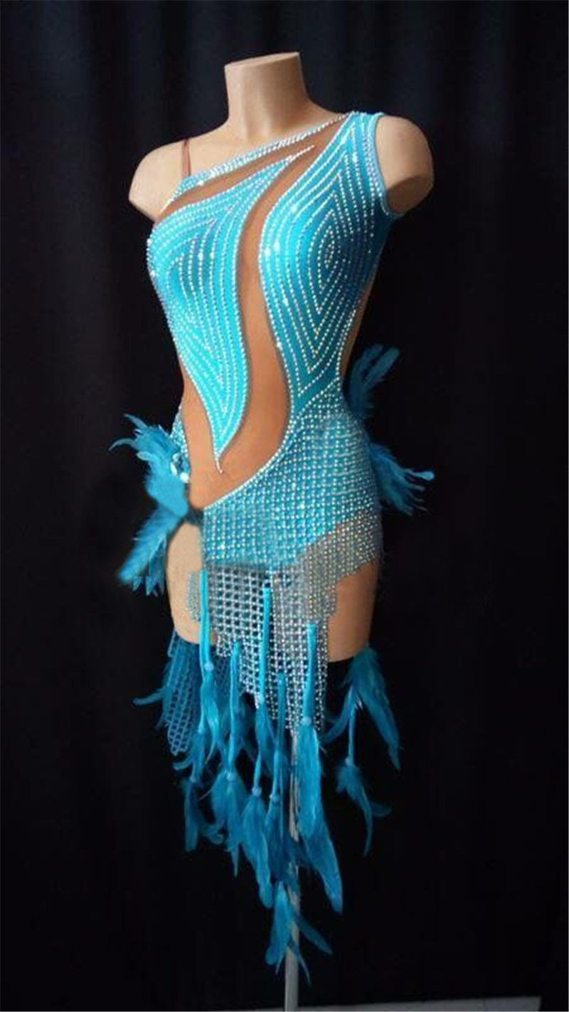 GOODANPAR 2018 Latin Dresses Women Fishing Net Latin Dance Dress Stage Dance Wear Salsa Cha Cha Costume Latin Skirt Customized