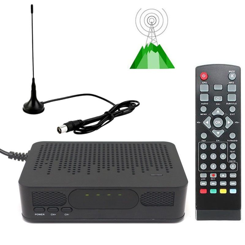 DVB-T2 Mini Size HD TV Digital Terrestrial TV Tuner FTA RECEIVER CONVERTOR + VHF UHF Antenna 1080P Set Top BOX HDMI Playback