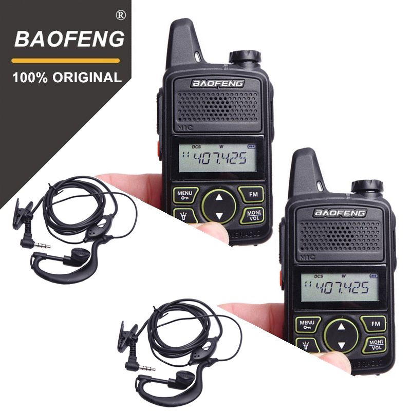 100% 2pcs BAOFENG BF-T1 MINI Kids Walkie Talkie UHF Portable Two Way Radio FM Function Ham T1 Walkie Talkie USB HF Transceiver