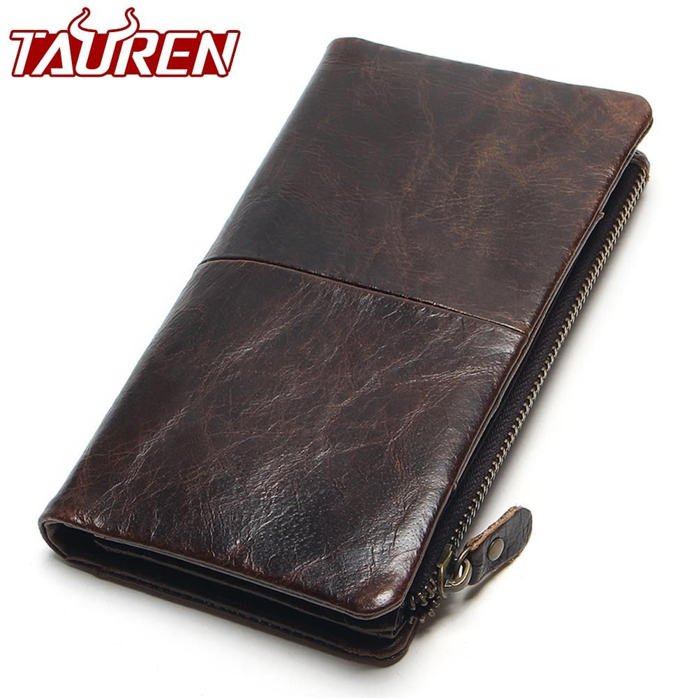 The 2018 New First Layer Of Real Leather Men's Oil Wax Retro High-Capacity Multi-<font><b>Card</b></font> Bit Long Wallet Clutch Men Genuine