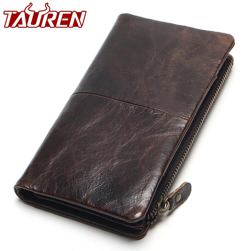 The 2019 New First Layer Of Real Leather Men's Oil Wax Retro High-<font><b>Capacity</b></font> Multi-Card Bit Long Wallet Clutch Men Genuine