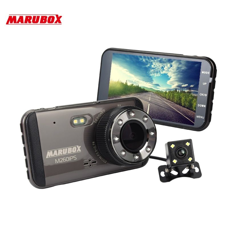 MARUBOX M260IPS Car DVR Dashcam Full HD 1920x1080 Dual Lens Dash Cam With Rearview Camera Auto Recorder Video Registrator