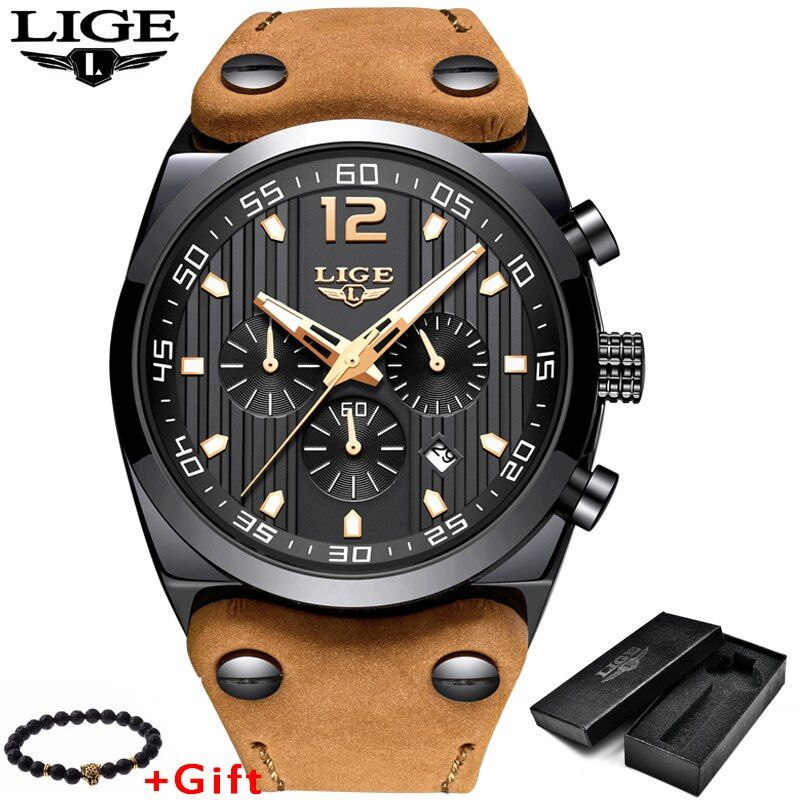 LIGE Mens Watches Top Brand Luxury Men's Military Waterproof Quartz Watch Men Sport Leather Chronograph Relogio Masculino+Box