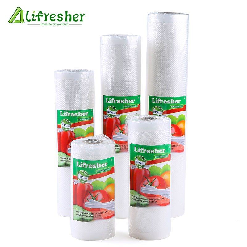 Lifresher 3 Rolls/Lot Vacuum Bags For Food Vacuum Bag Storage Kitchen Packaging Sealing Plastic Sealer Roll 12 15 20 25 28*500cm