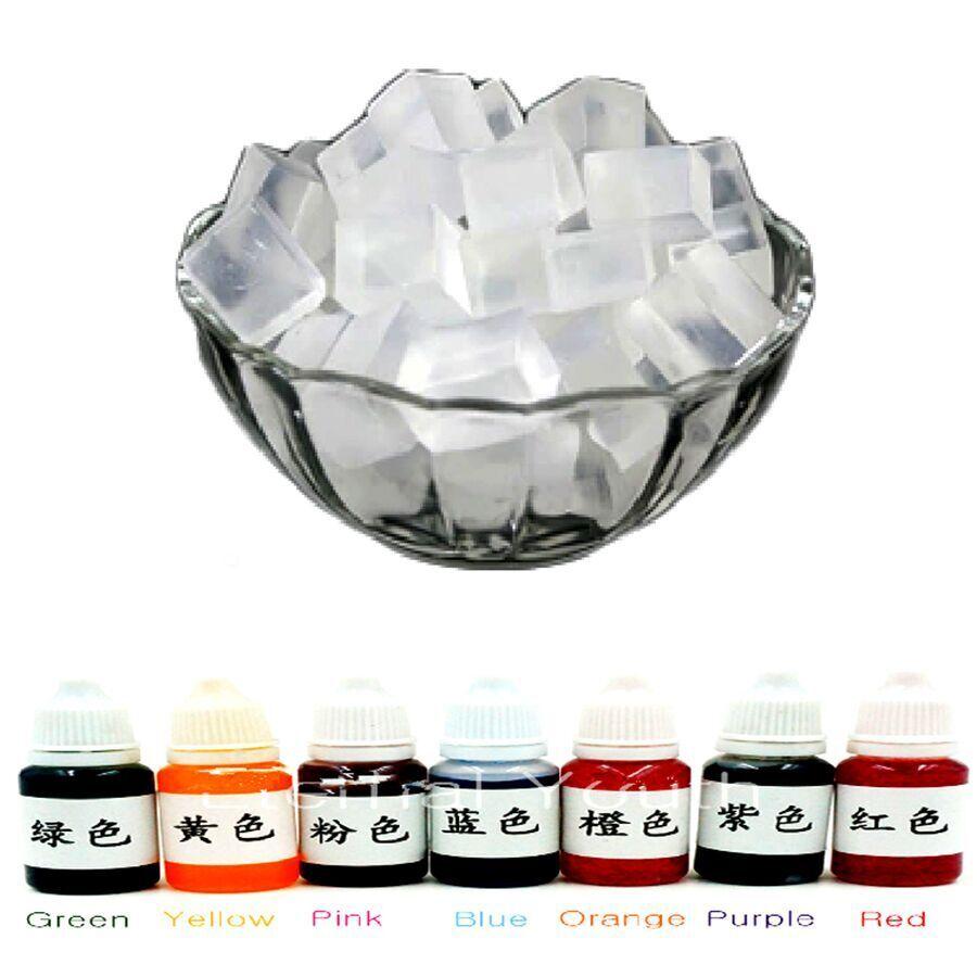 500g Transparent Glycerin Seife Basis + 10mlX7 Farbe Spezielle Pigmente für DIY Handgemachte Seife