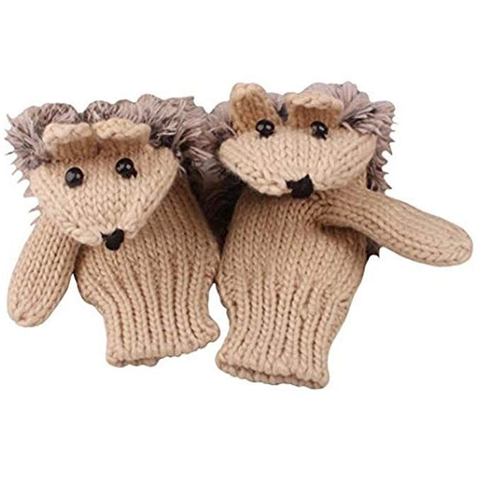 Dropshipping Women's cute animal gloves Cartoon Hedgehog Winter Cotton Gloves