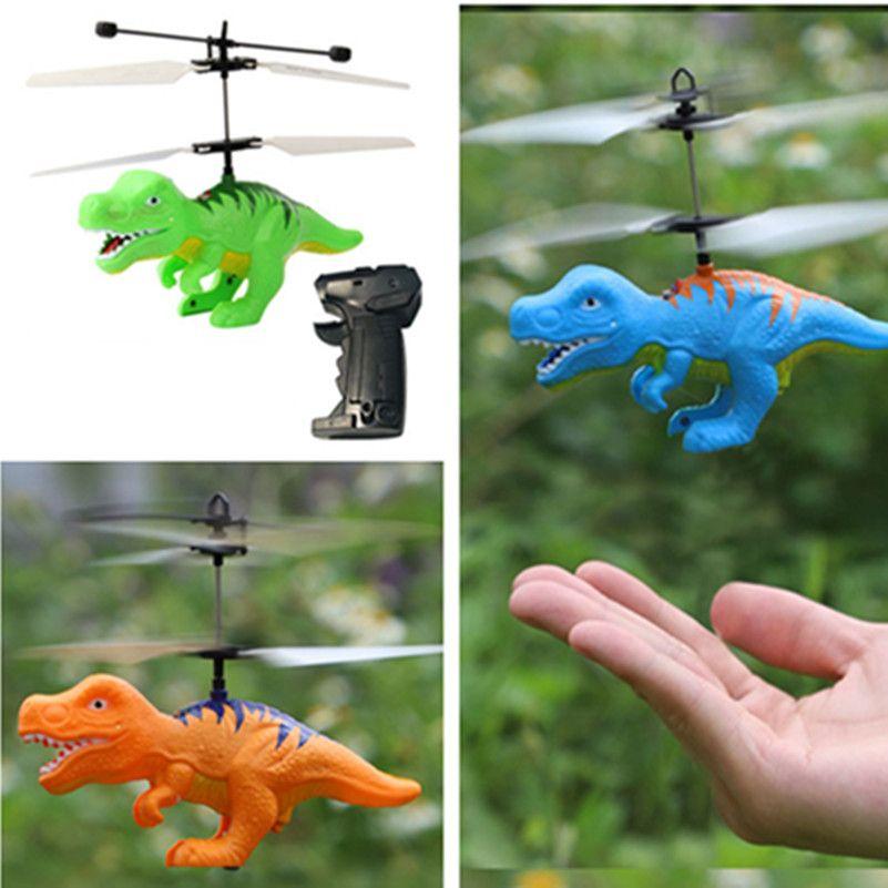 Helicopter Sensor Flying Remote Control Aircraft  Kids Children Light Toys Dinosaur Model