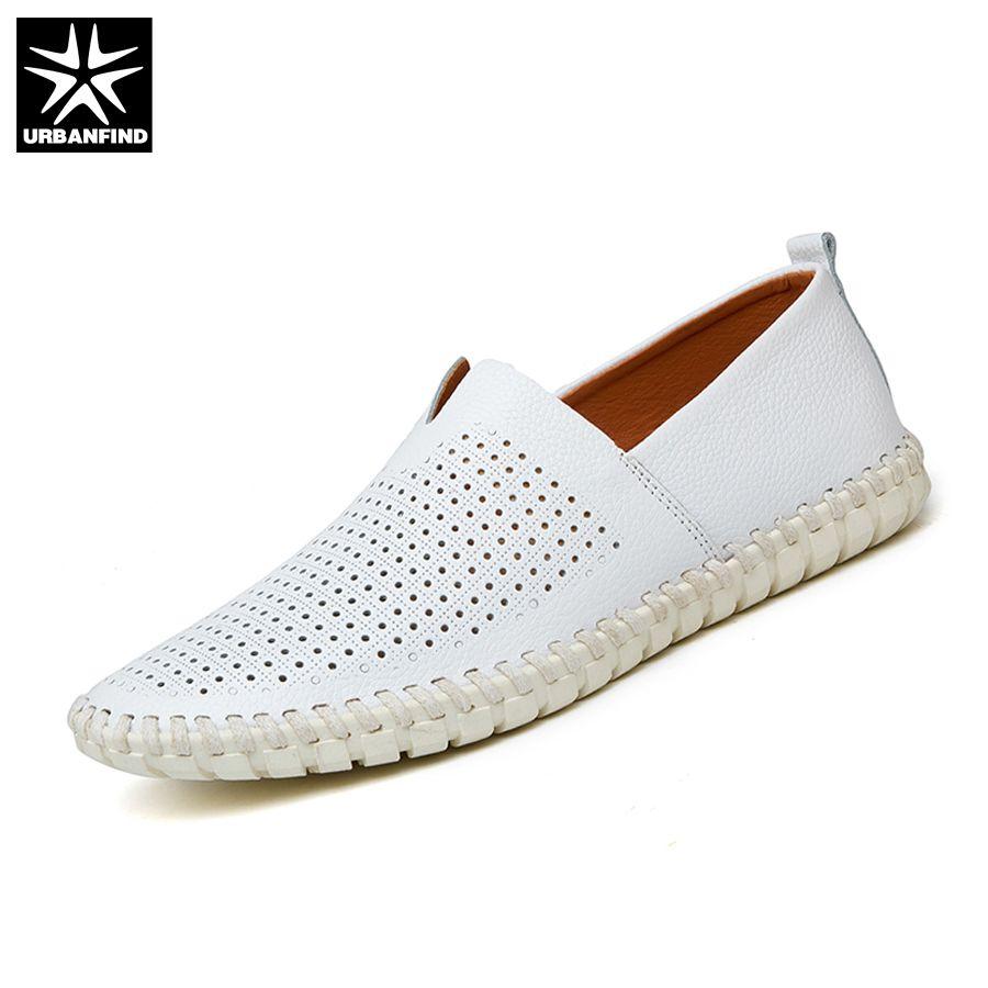 Urbanfind/лето Стиль мужские кожаные лоферы Slip-On обувь Большие размеры в наличии 38–47 полые Дизайн человек дышащие повседневные туфли на плоской...