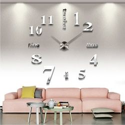 new arrival Quartz clocks fashion watches 3d real big wall clock rushed mirror sticker diy living room decor free shipping