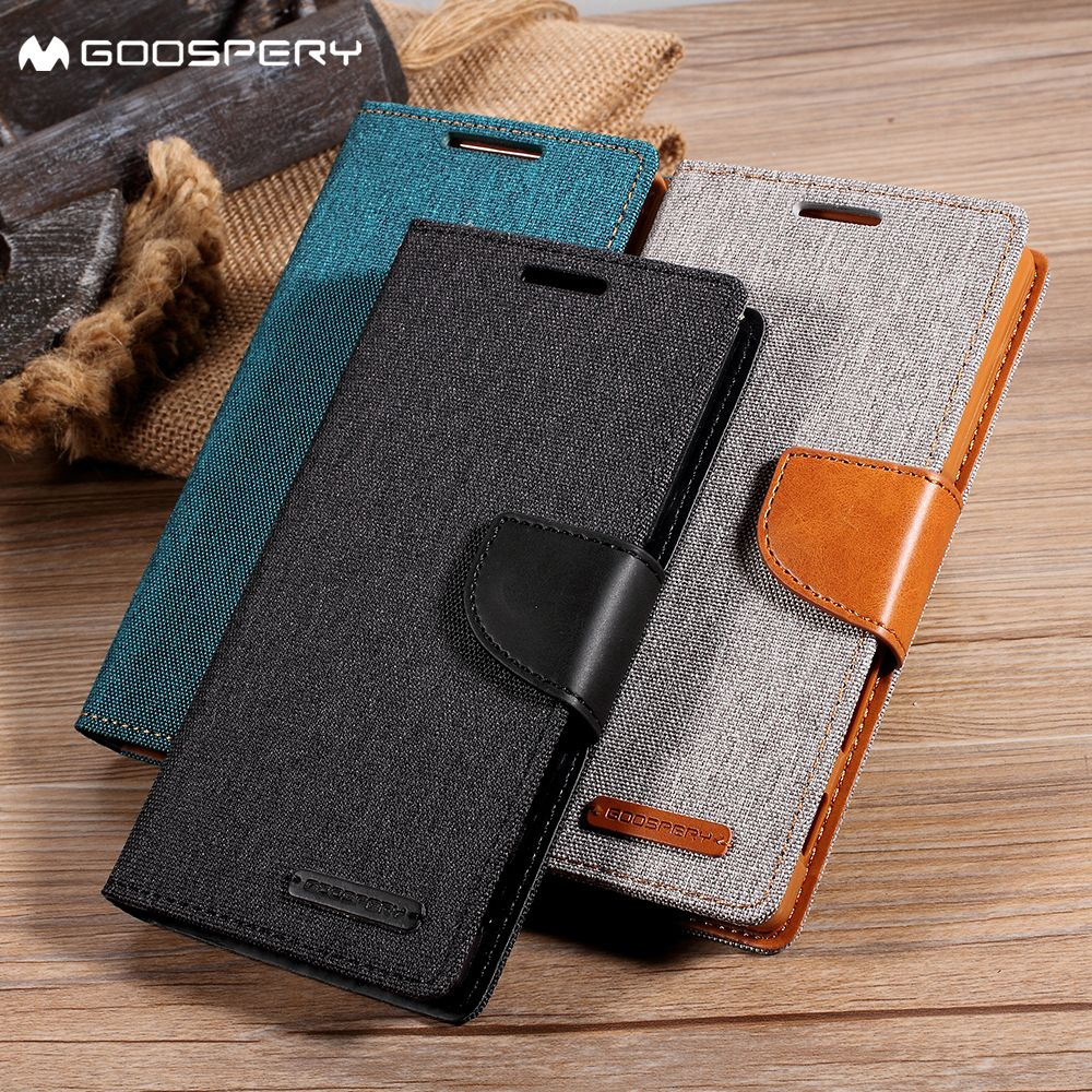 MERCURY GOOSPERY Coque for Samsung Galaxy J7 Prime J3 J5 J7 2016 A3 A5 A7 2016 2017 Phone Case Canvas Leather Wallet Flip Cover