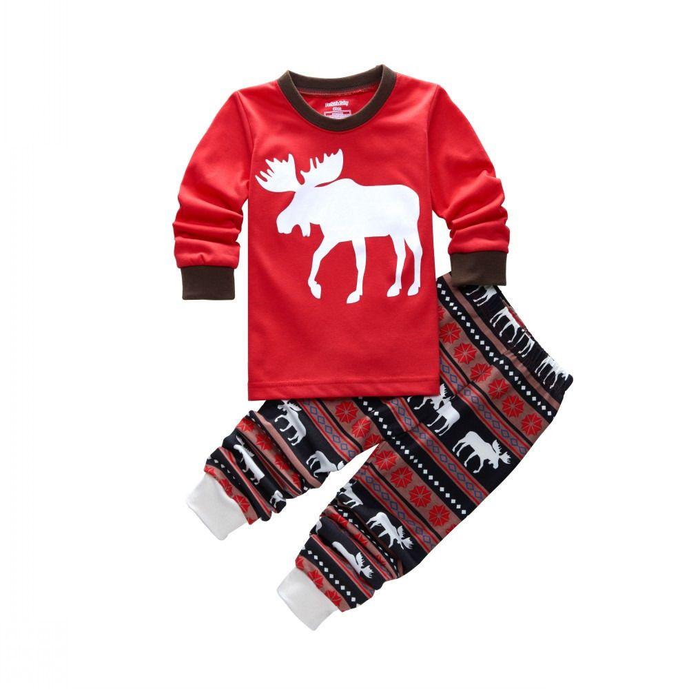 Chiristmas Familia Conjunto Parnet-niño Niños Y Niñas Madre Padre Casa Trajes de Manga Larga t-shirt + Pants 2 Unids Otoño Conjunto