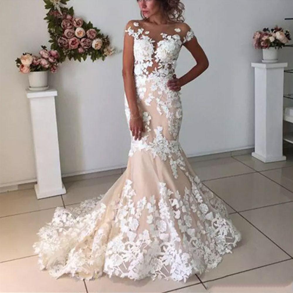Champagner Meerjungfrau Hochzeit Kleider Lange Backless 2020 Robe de mariee Vintage Spitze Blumen Brautkleid mit Ärmeln Formale