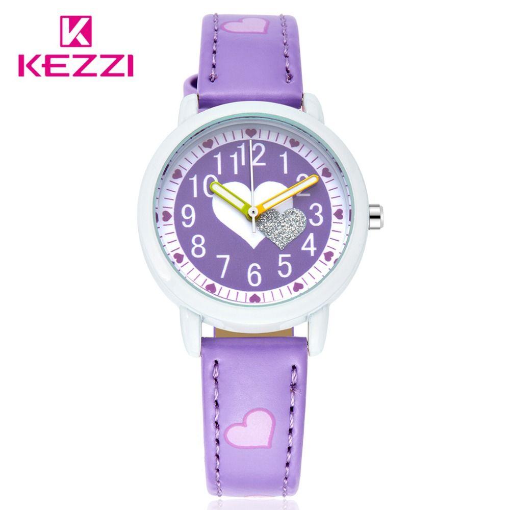 Kezzi moda marca Kid relojes chica correa de cuero estudiante muchacho reloj de dibujos animados reloj de los niños reloj