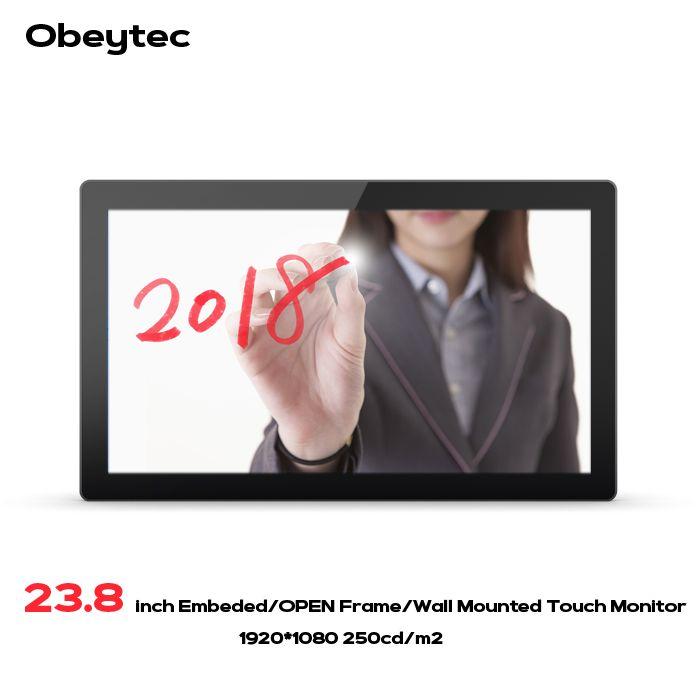 23,8 zoll LCD Weiten 16:9 P-CAP Kapazitiven Open Frame PCAP touchscreen Touch Monitor FHD Auflösung 10 Punkte Touch IP65