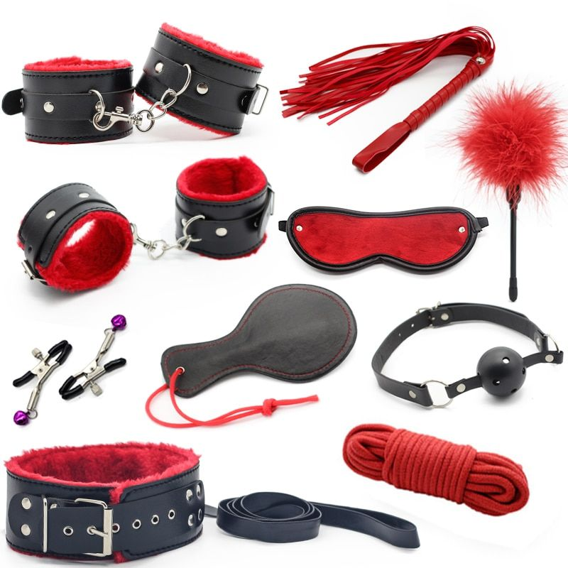 Sex Toys For <font><b>Couples</b></font> Bondage Restraint Vibrators Leather Handcuffs Nipple Clamps Rope Whip Sexy Toy Sex Tool Adults Sex Products