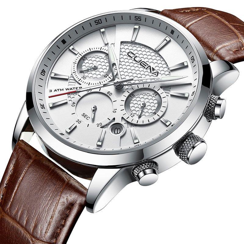 CUENA Montres homme Chronomètre Date Mains Lumineuses Cuir Véritable 30 m Étanche Horloge Homme Quartz Montres Hommes Montre De Mode 2018