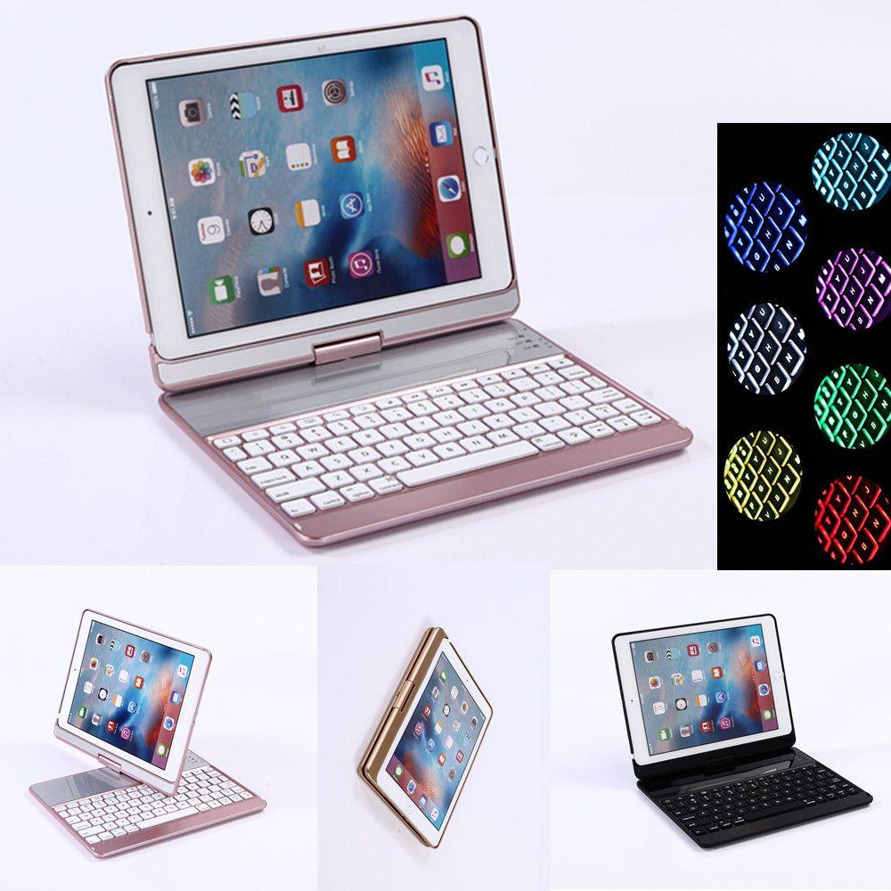 360 rotierenden Bluetooth 7 Farben Backlit Kunststoff Tastatur Fall Abdeckung Für Neue iPad 2017 2018 iPad Air Air 2 Pro 9,7 Bildschirm Schützen