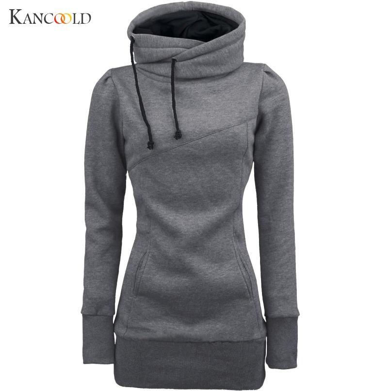 2017 Newly Stylish Fashion Sweatshirts Women Long Sleeve Slim Hoodied Pullover Sweatshirts Femme Solid Turtle Neck Outwear No153