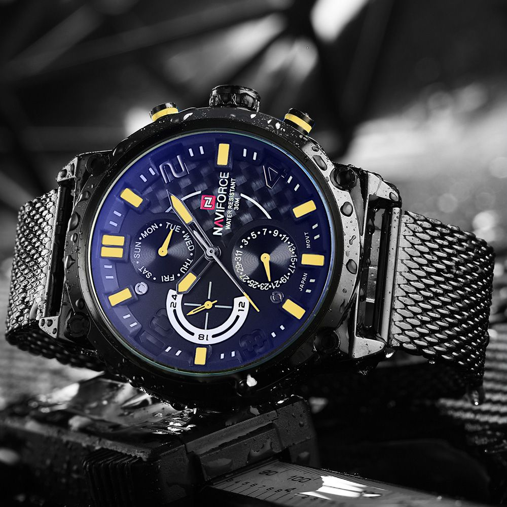 <font><b>NAVIFORCE</b></font> Luxury Brand Full Steel Men Watches Men's Quartz 24 Hour Date Clock Male Sport Military WristWatches Relogio Masculino