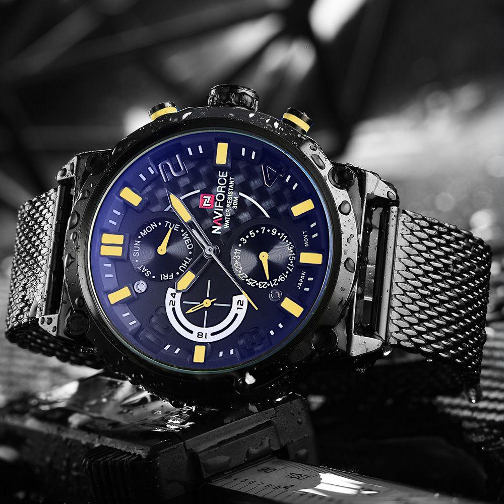 NAVIFORCE Luxury Brand Full Steel Men Watches Men's Quartz 24 Hour <font><b>Date</b></font> Clock Male Sport Military WristWatches Relogio Masculino