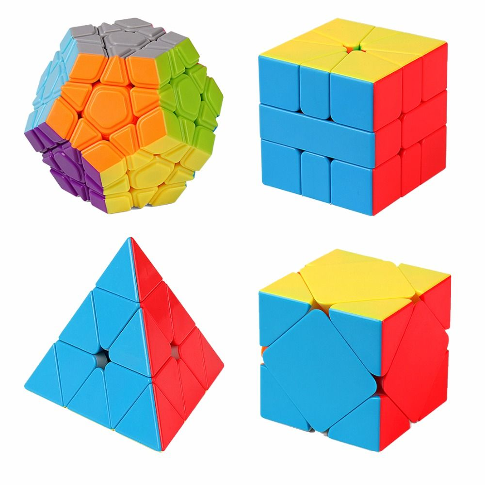 4pcs/set Cubing Classroom WCA Official Competition <font><b>Cube</b></font> Gift Set Magic <font><b>Cube</b></font> Brain Teaser Puzzle Toy - Colorful