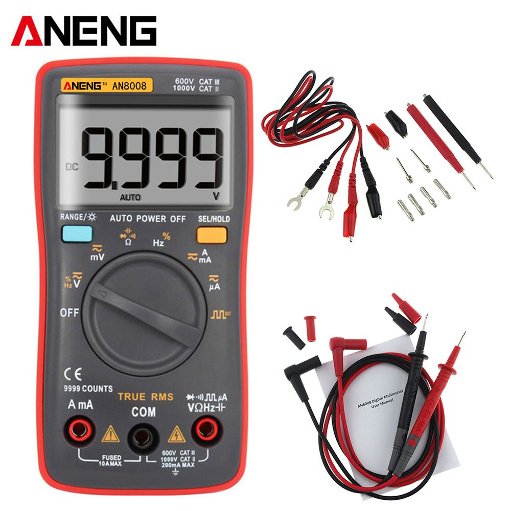AN8008 Palm-size True-RMS Digital Multimeter 9999 counts Square <font><b>Wave</b></font> Backlight AC DC Voltage Ammeter Current Ohm Auto/Manua