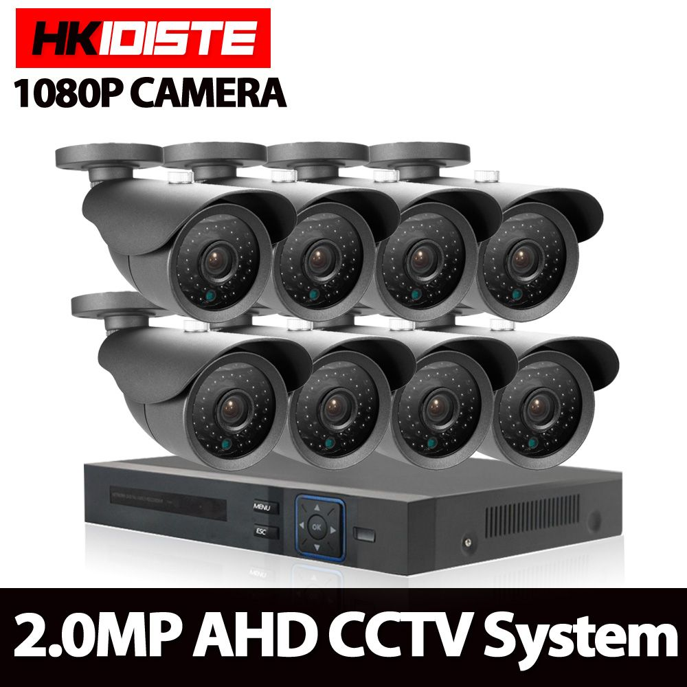 HKISDISTE 1080N HDMI DVR 3000TVL 1080P HD Outdoor Home Security Camera System 8CH CCTV Video Surveillance DVR Kit AHD Camera Set