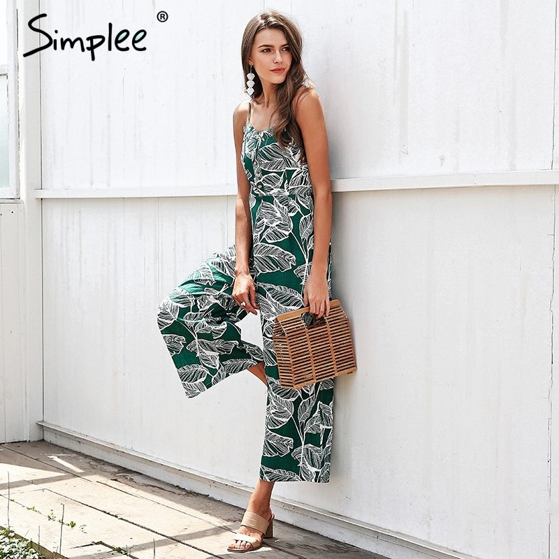 Simplee Backless tropical print women jumpsuit summer Strap wide leg jumpsuit romper 2018 Streetwear overall jumpsuit macacao