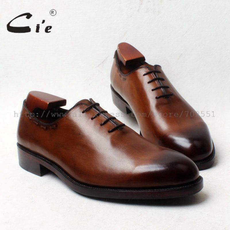 cie Round Toe Whole Cut Lace-Up Oxfords 100%Genuine Calf Leather Bottom Outsole Breathable Men's Shoe Dress Goodyear WeltedOX667