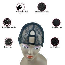 2 Peignes S/M/L Taille-Moyen U Partie Tissage Cap Perruque Fondation à l'intérieur intérieure pour Perruque Faire Extension de Cheveux trame DIY Noir couleur