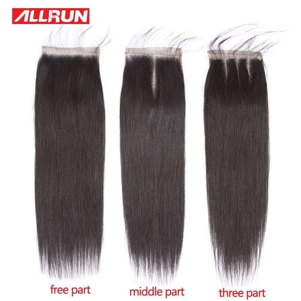 ALLRUN Brésiliens Cheveux Raides Dentelle Fermeture 4*4 Moyen/Livraison/Trois Partie Couleur Naturelle Non Remy Humains cheveux Fermeture 8 À 20 pouces