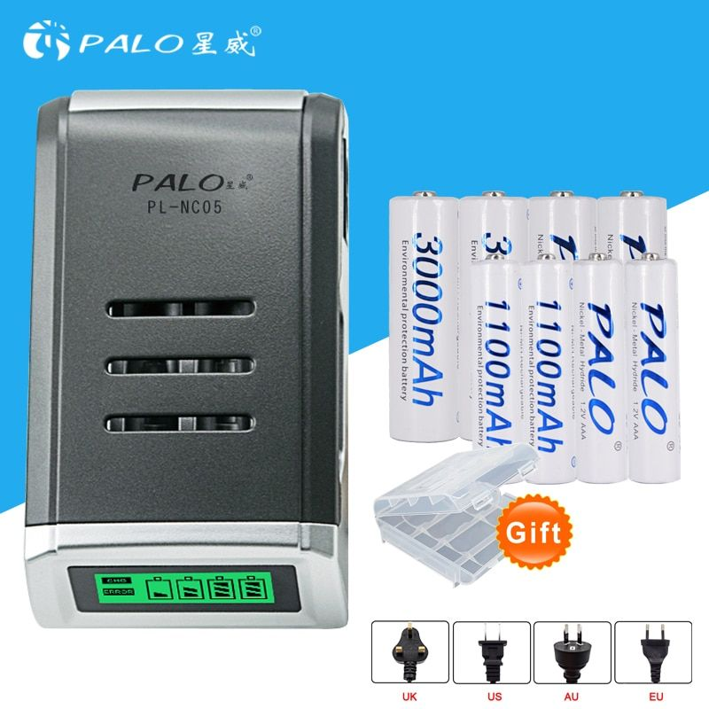 4 Slots écran LCD Chargeur Intelligent pour AA/AAA Piles + 4 pcs AAA 1100 mah + 4 pcs AA 3000 mah nimh rechargeable batteries