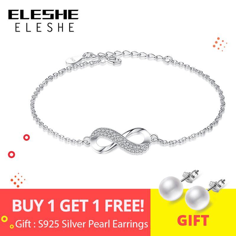 ELESHE De Luxe Marque Solide 925 Sterling Argent Infinity Charm Bracelet pour les Femmes Lien Chaîne Bracelet Bracelet Authentique Bijoux