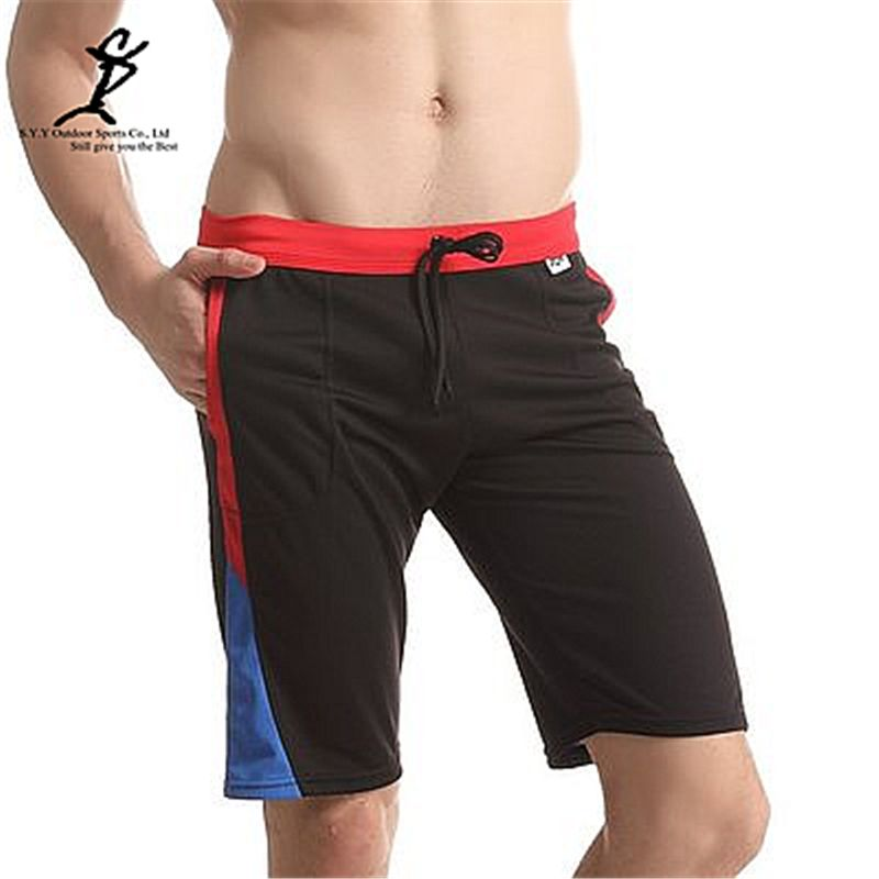 Men Gym Fitness Color Patchwork Running Shorts For Workout Quick Dry Sports Trunks Short Pants Beach Trousers Basketball Capri