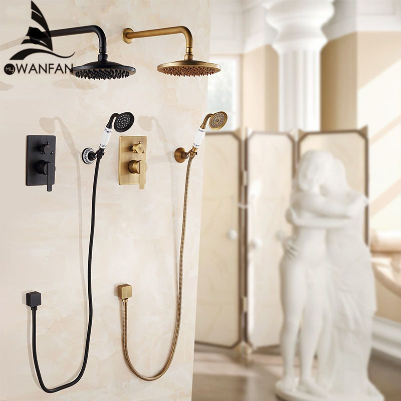 Bathtub Faucets Antique Bath Rain Shower Wall Concealed Bathroom Faucets Shower Set Faucet Mixer Black Mixer Set Crane FS-13889