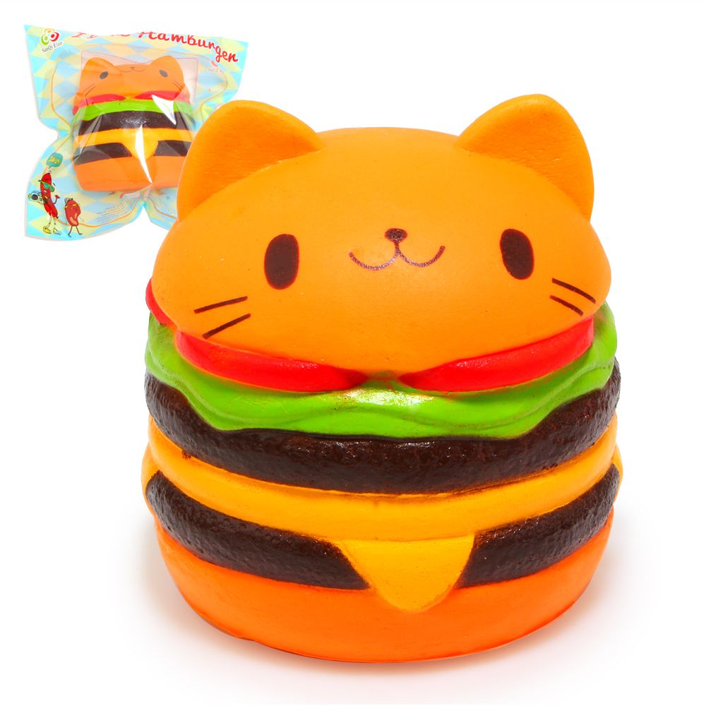 Jumbo Squishy Kawaii Yummy Cat Hamburger Charms Bread Scented Super Slow Rising Soft Pu Kids Gift Squeeze Toy Original Package