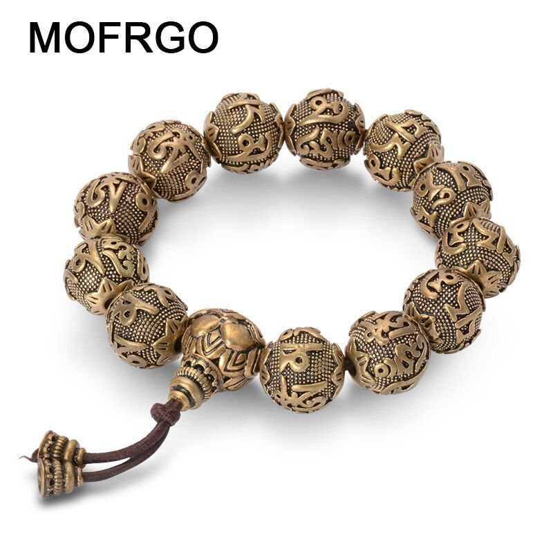 Vintage Tibetan Buddhism Brass <font><b>Charm</b></font> Bracelet Six Words Mantras OM MANI PADME HUM Good Luck Amulets Beads Bracelet For Men