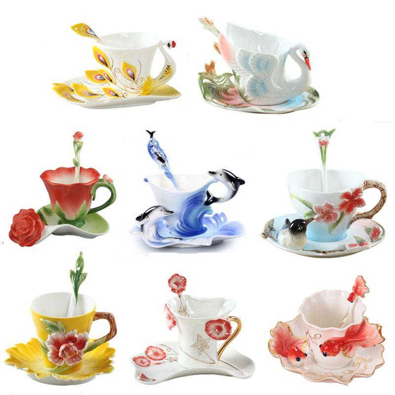 Nouvelle tasse à café en émail porcelaine thé lait tasse ensemble créatif en céramique Drinkware européen os chine Copo