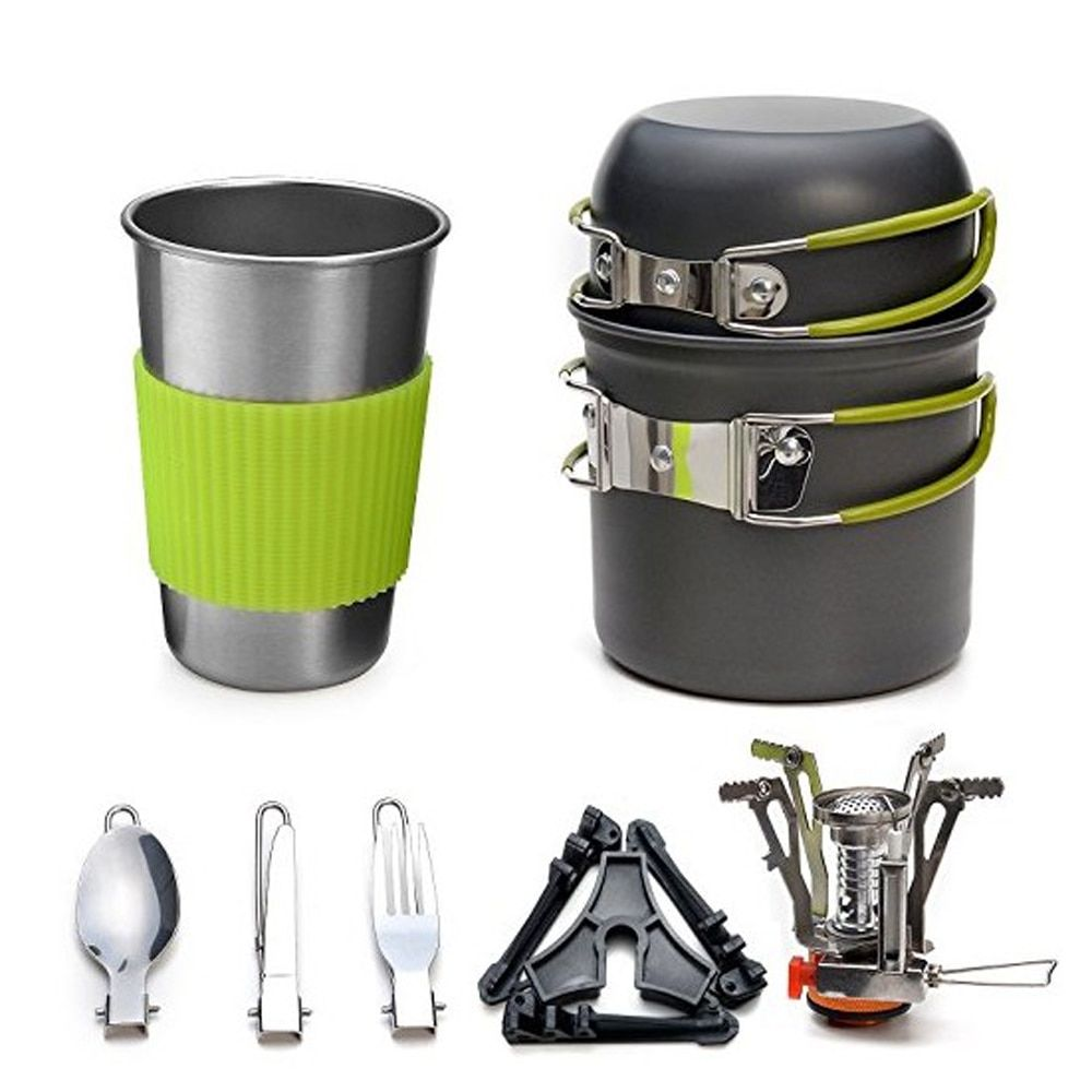 Outdoor Camping Hiking tableware Aluminium Alloy Cookware Cooking Picnic Traveling Bowl Pot Pan Set+Gas-Burner for 1-2 person