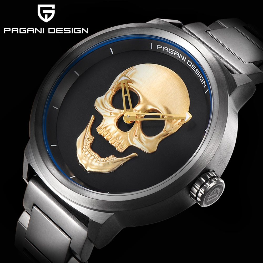 PAGANI design Luxury Brand Full Stainless Skull Bone Biker Punk stylish sports quartz watch Male Retro Wristwatch Clock men