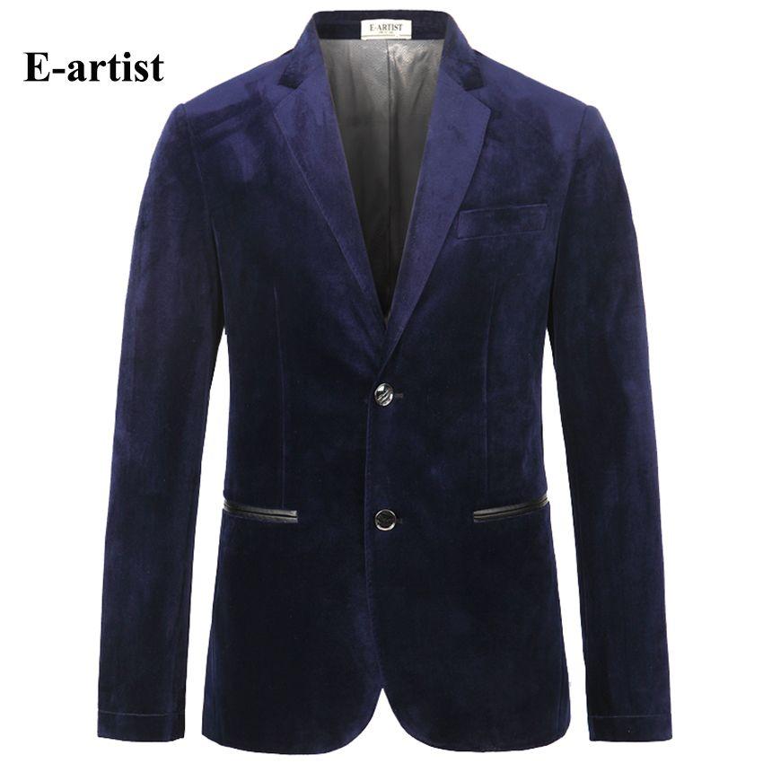 E-künstler männer Slim Fit Geschäfts Kausalen Velvet Blazer Jacken Anzug Mäntel Outwear Tops für Frühling Herbst Winter Plus Größe X31