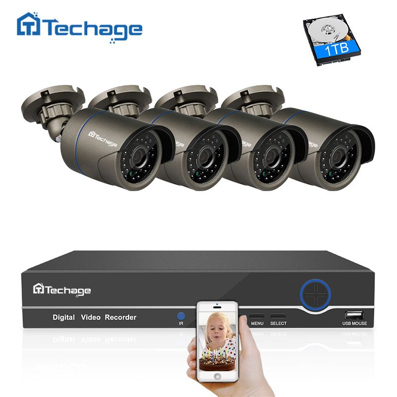 Techage 1080P POE CCTV System 4CH 48V NVR Kit Indoor Outdoor 2MP IP Camera Home Security P2P Video POE Surveillance System Set