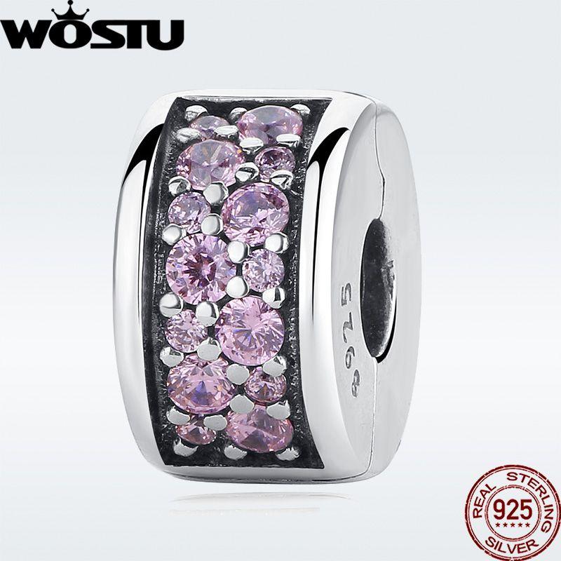 Véritable 100% 925 argent Sterling brillant élégance Clip charme avec CZ clair Fit Original WST Bracelet pendentif bijoux authentiques
