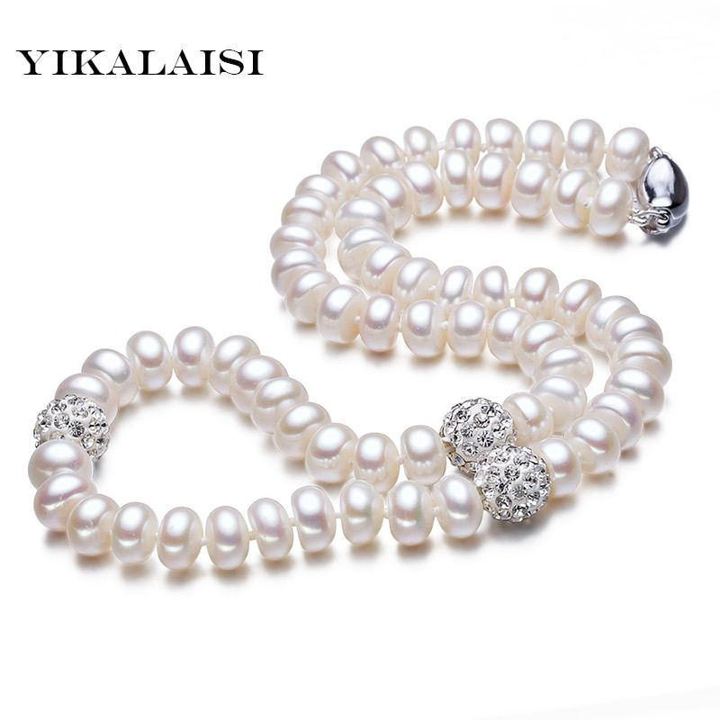 YIKALAISI 2017 Natural freshwater Necklace Pearls Jewelry Crystal Ball 925 sterling Silver Jewelry 45cm For Women Best Gifts