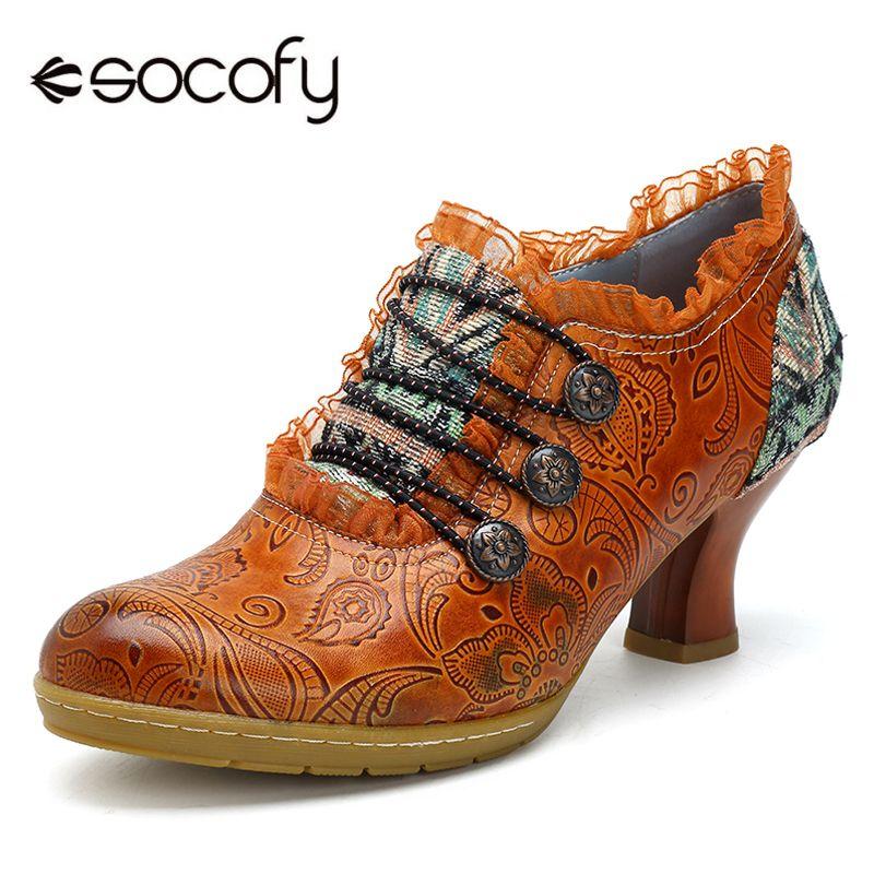 Socofy Vintage Genuine Leather Pumps Women Shoes Retro Bohemian Spring Autumn Zipper Lace Brim Ankle Pumps Ladies Shoes Heels