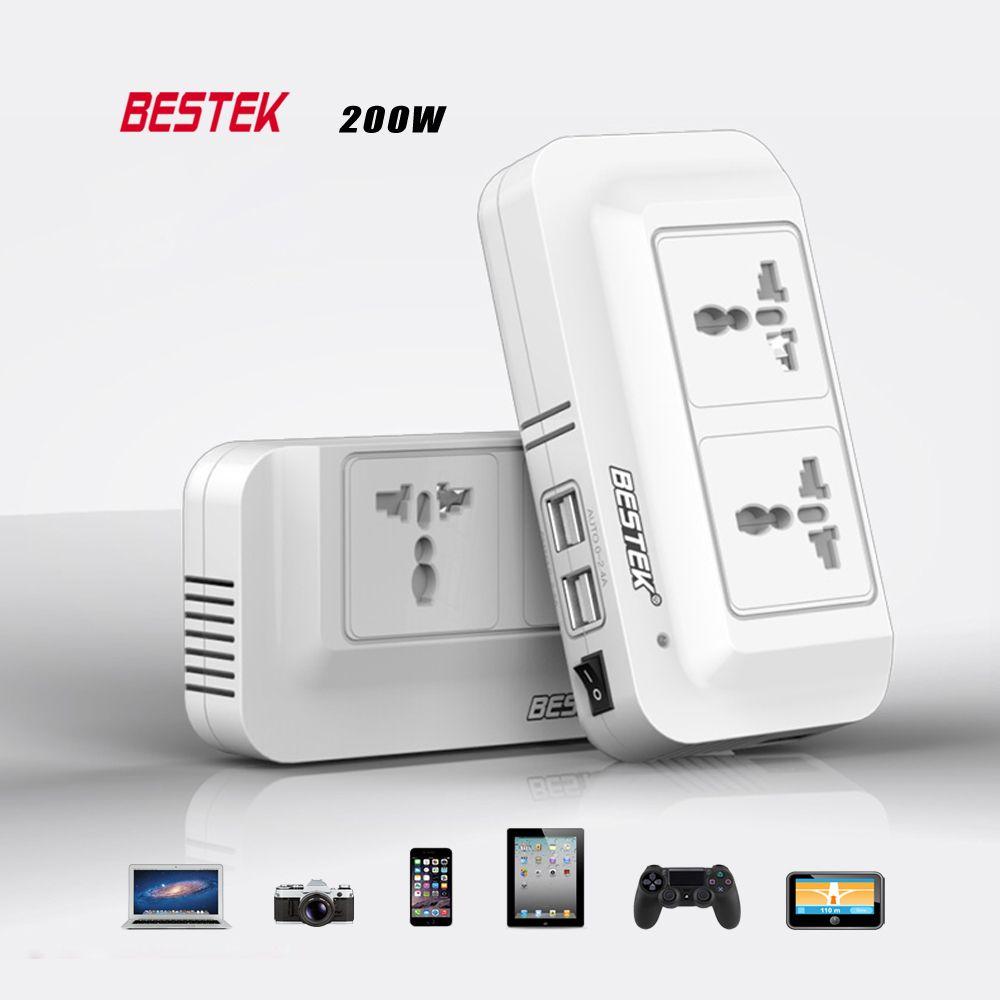 BESTEK 12V DC To AC 220V Auto Power Inverter 200W Car Auto Power Inverter Converter Adapter 4 Port USB Charger For Car Charger