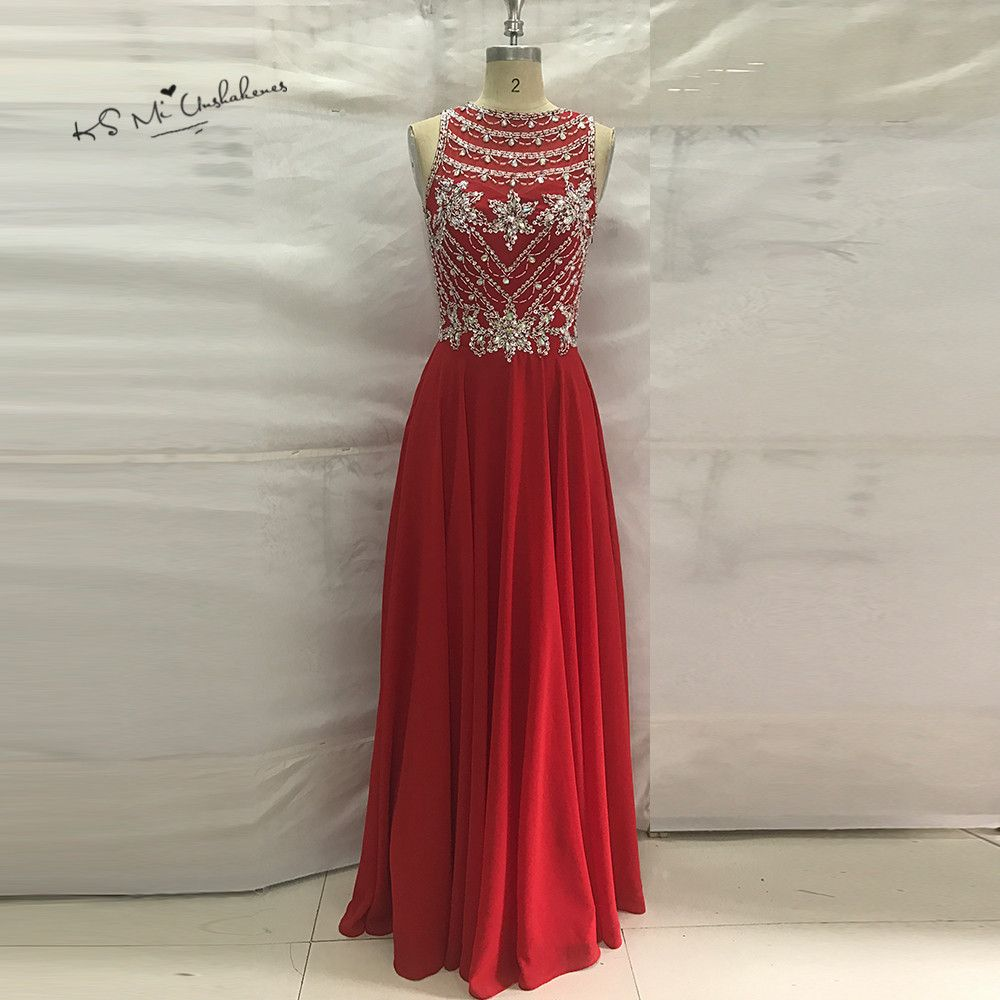Luxury Modest Red Prom Dresses 2017 Crystals Vestido de Formatura Imported Party Dress for Graduation Long Evening Gowns Courte