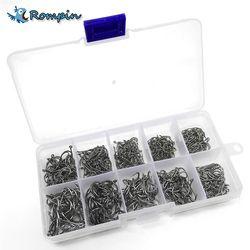 Rompin 500 шт./компл. смешанные размеры #3 ~ 12 высокоуглеродистой сталь Карп набор рыболовных крючков с отверстием в розницу оригинальная коробка ...